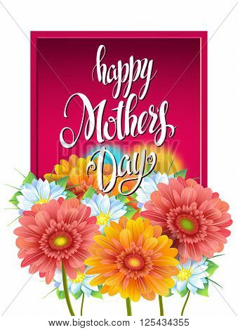 Mothers Day Lettering, poster, advertising of spring flowers Gerber. Summer bouquet of flowers on red background. Isolate sign and flowers.Vector illustration