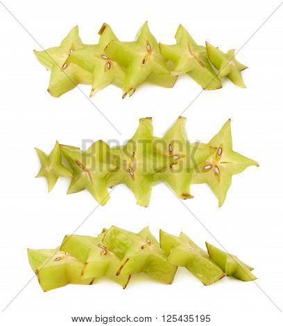 Line of multiple Averhhoa carambola starfruit slices isolated over the white background, set of three different foreshortenings