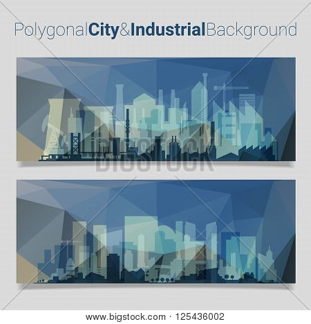 Trendy polygonal website header slider webdesign kit with city skyline and industrial backgrounds
