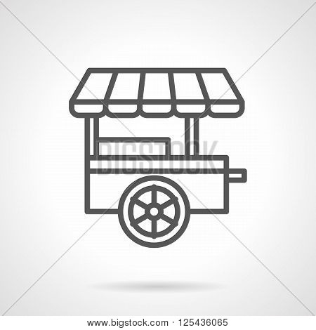 Trailer with awning for street food trade. Wheel shop. Food and drinks trolley. Simple black line vector icon. Single element for web design, mobile app.