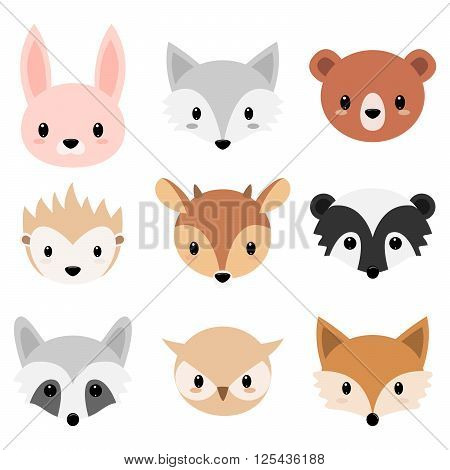 Vector illustration of six faces forest animal. Cartoon animal head icons. Cute forests animals collection