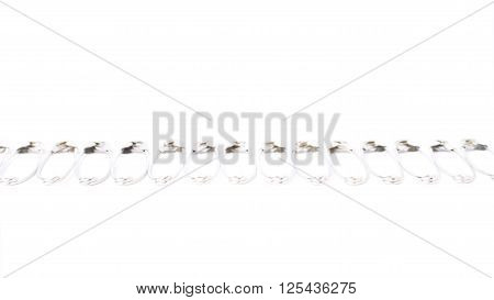 Metal safety pin isolated on white background