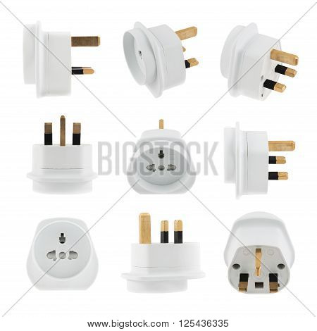 European EU to UK converter plug travel adapter isolated over white background, set of nine foreshortenings
