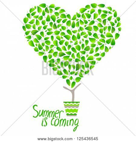 Stylized tree in cute flower pot. Topiary with heart made of small green leaves