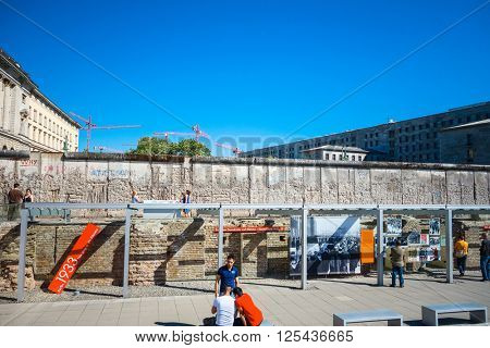 BERLIN, GERMANY- MAY 15, 2013: Berlin Wall was a barrier constructed starting on 13 August 1961. MAY 15, 2013 in Berlin