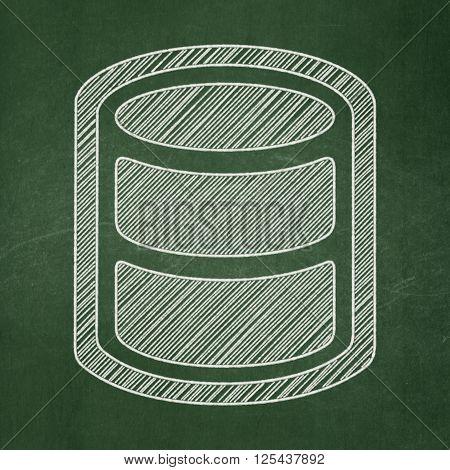 Software concept: Database on chalkboard background