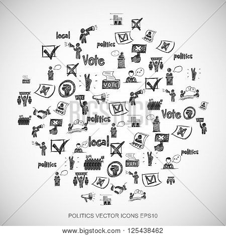 Black doodles Hand Drawn Politics Icons set on White. EPS10 vector illustration.