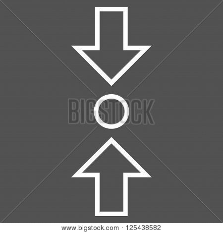 Compress Vertical vector icon. Style is outline icon symbol, white color, gray background.