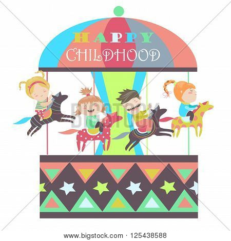 Happy kids riding merry go round. Vector isolated illustration