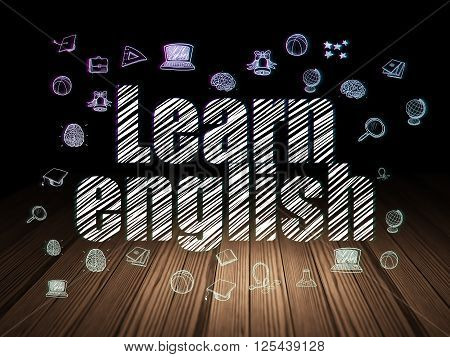 Learning concept: Learn English in grunge dark room