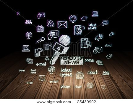 News concept: Breaking News And Microphone in grunge dark room