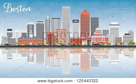 Boston Skyline with Gray, Red Buildings, Blue Sky and Reflections. Vector Illustration. Business Travel and Tourism Concept with Modern Buildings. Image for Presentation Banner Placard and Web Site.