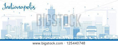 Outline Indianapolis Skyline with Blue Buildings. Vector Illustration. Business Travel and Tourism Concept with Modern Buildings. Image for Presentation Banner Placard and Web Site.