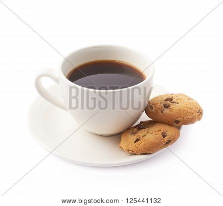 Cup of coffee and cookies composition isolated over the white background
