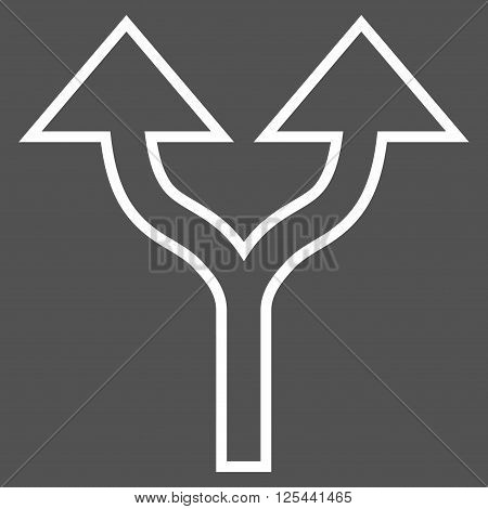 Split Arrows Up vector icon. Style is thin line icon symbol, white color, gray background.