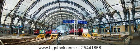 DRESDEN, GERMANY - APRIL 05,2016: Panorama of  railways station of Dresden.Rail transport in Germany is at a very high level of progress. Saxony, Germany.