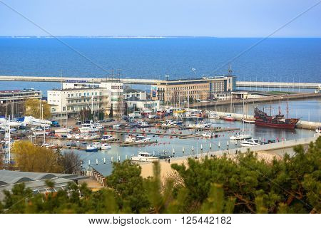 GDYNIA, POLAND - APRIL 8, 2016: Aerial view of the harbor at Baltic Sea in Gdynia. Gdynia is an important seaport of Gdansk Bay on Baltic Sea and part of metropolitan area called the Tricity.