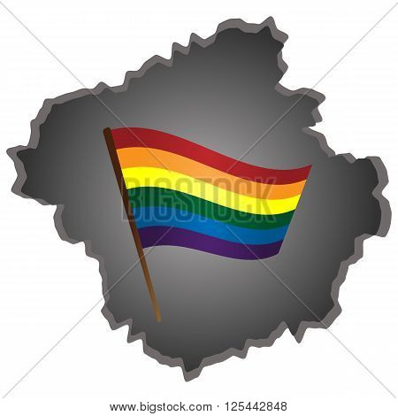 LGBT rainbow flag on abstract ragged gray background.