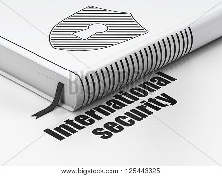 Safety concept: book Shield With Keyhole, International Security on white background
