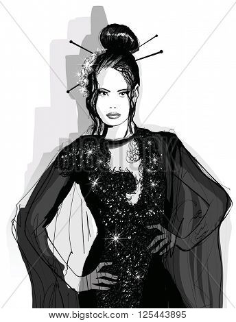 Fashion Asian model in black dress - Vector illustration