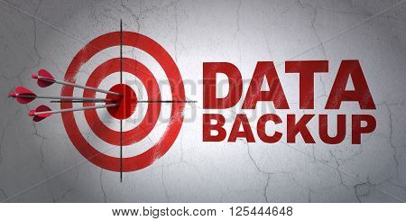 Information concept: target and Data Backup on wall background