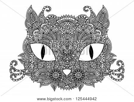 Hand drawn doodle outline vector cat muzzle illustration with abstract floral ornament isolated over white. Coloring page for kids and adults.