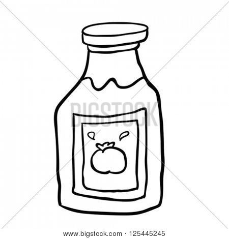 black and white freehand drawn cartoon ketchup bottle