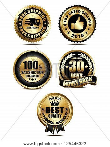 Assurance, Guarantee, Quality, Money Back, Delivery Medal Badge Collection