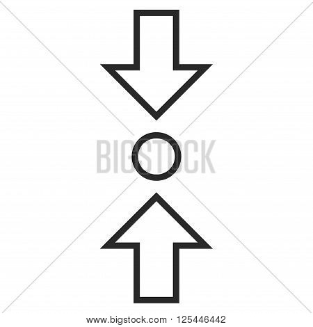 Compress Vertical vector icon. Style is stroke icon symbol, gray color, white background.