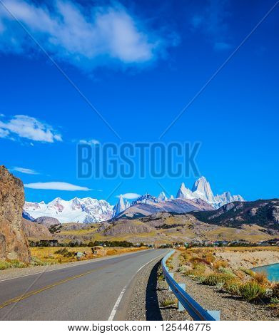 The road to majestic Mount Fitz Roy. The sunny autumn day in February. Argentine Patagonia