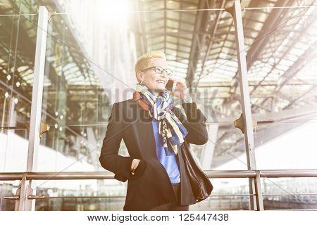 Airport Business Travel Terminal Businesswoman Concept