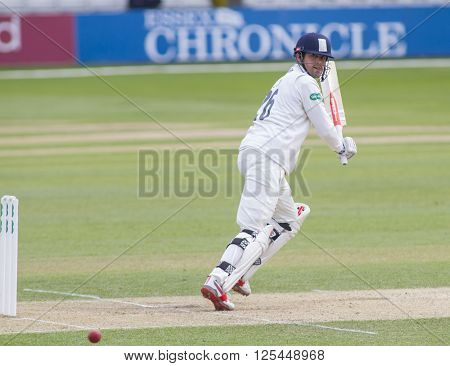 CHELMSFORD, ENGLAND - APRIL 11 2016: Alastair Cook of Essex batting during the Specsavers County Championship match between Essex and Gloucestershire at the County Ground in Chelmsford, England.