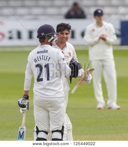 CHELMSFORD, ENGLAND - APRIL 11: Alastair Cook of Essex  celebrates scoring a century during the Specsavers County Championship match between Essex and Gloucestershire at the County Ground