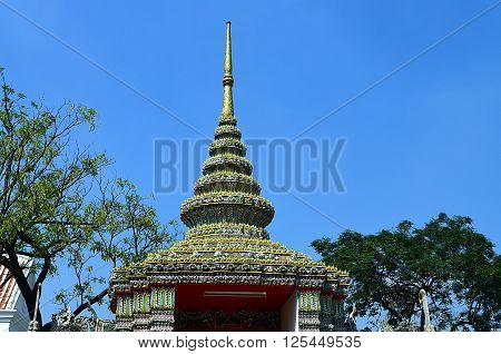 Roof gable of a buddhistic temple in Thailand Bangkok