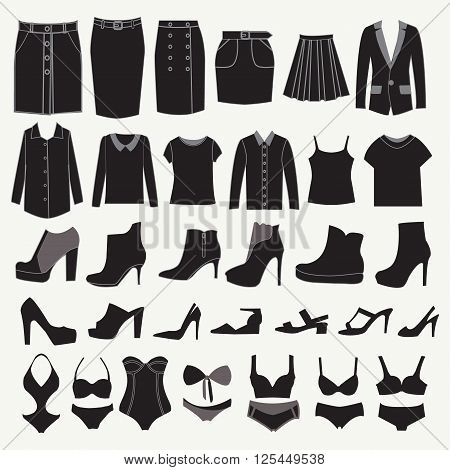 Clothes and shoes Fashion icon set. Different clothing and accessories