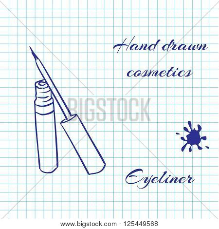 Hand drawn line art cosmetics on notebook paper background. Eyeliner drawn with a pen. Vector ilustration EPS10