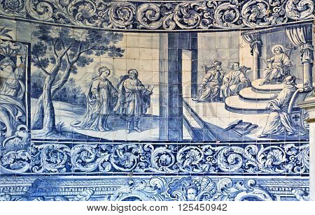 VILA DO CONDE, PORTUGAL - September 20, 2015: Detail of the eighteenth century panels of tiles that portray images of the life of the Virgin Mary on September 20, 2015 in Vila do Conde, Portugal