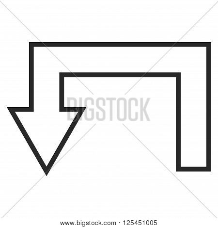 Return Arrow vector icon. Style is contour icon symbol, gray color, white background.