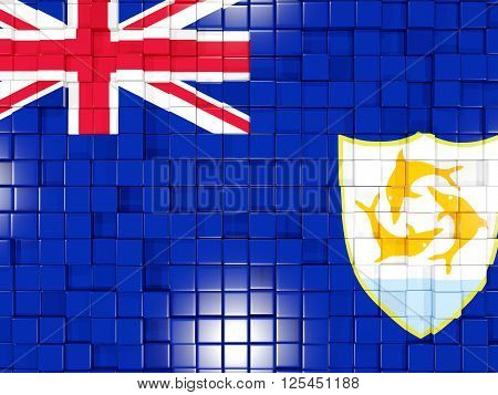 Background With Square Parts. Flag Of Anguilla. 3D Illustration
