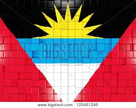 Background With Square Parts. Flag Of Antigua And Barbuda. 3D Illustration