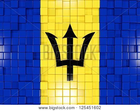 Background With Square Parts. Flag Of Barbados. 3D Illustration