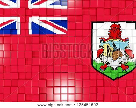 Background With Square Parts. Flag Of Bermuda. 3D Illustration