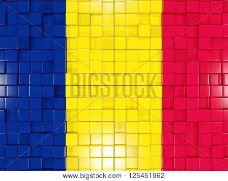 Background With Square Parts. Flag Of Chad. 3D Illustration