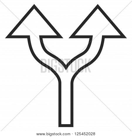 Split Arrows Up vector icon. Style is stroke icon symbol, gray color, white background.