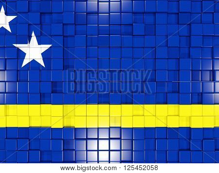 Background With Square Parts. Flag Of Curacao. 3D Illustration