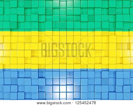 Background With Square Parts. Flag Of Gabon. 3D Illustration