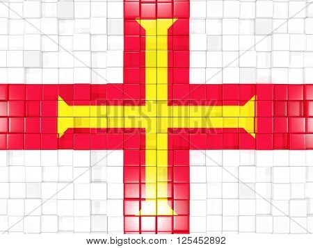 Background With Square Parts. Flag Of Guernsey. 3D Illustration