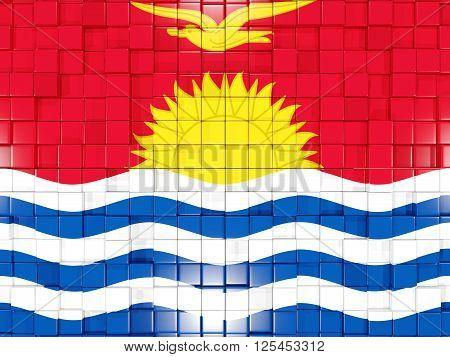 Background With Square Parts. Flag Of Kiribati. 3D Illustration