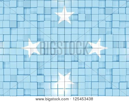 Background With Square Parts. Flag Of Micronesia. 3D Illustration