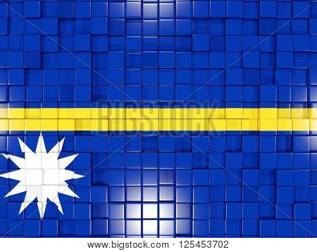 Background With Square Parts. Flag Of Nauru. 3D Illustration